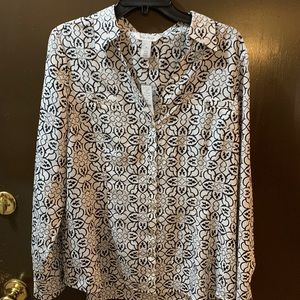 White and black patterned blouse